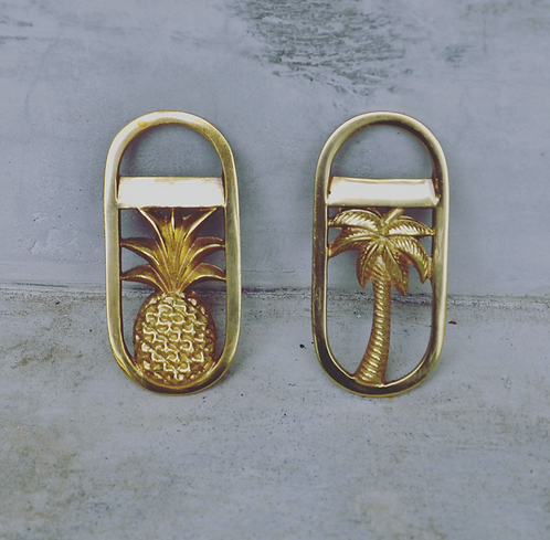Twin Pack - Palm & Pineapple Bottle Openers Gold