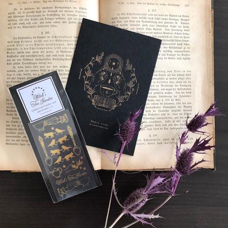 魔女の庭 活版印刷の魔法カードと箔シールセット