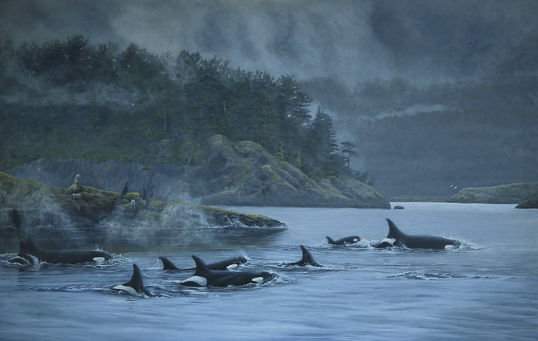 Legacy & Hope, J-Pod Orca whales wildlife artist Jodie Dansereau Killer whales BC Artist