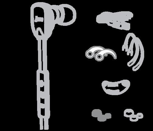 Jam Transit Mirco藍牙運動耳機完整配件、包括耳內穩定器、一般抗噪耳塞、運動用螺紋耳塞、運動耳掛、集線器等