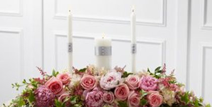 Flower and Candle Head Table Arrangement
