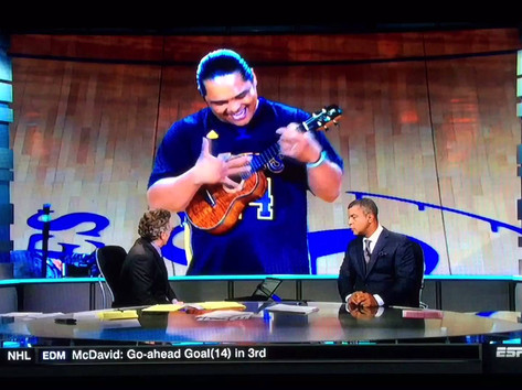 Derick Sebastian ESPN SportsCenter Ukulele HIGHLIGHT w/ Neil Everett & Stan Verrett