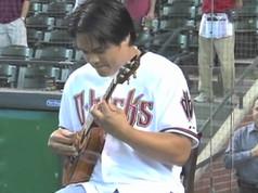 Derick Sebastian performs The National Anthem for the Arizona Diamondbacks