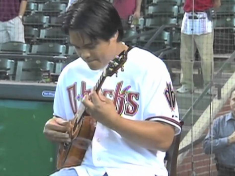 Derick Sebastian performs The National Anthem for the Arizona Diamondbacks