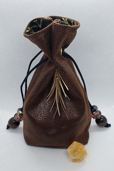 Dark Brown & Gold Dice Bag