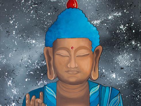 Buddha Meditation in a blue robe
