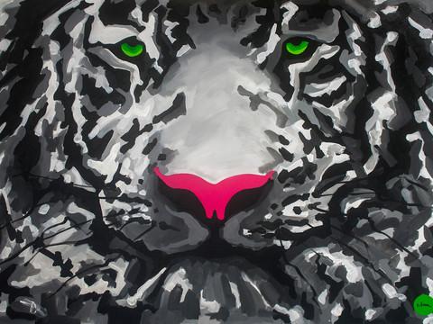 Green-eyed white tiger