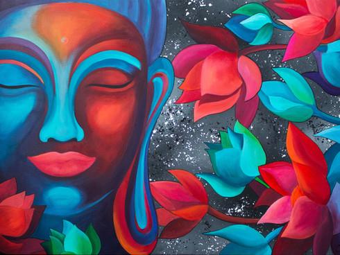 Buddha in lotus flowers