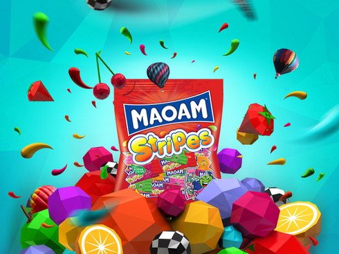 My proposition for key visual of Maoam sweets. First I prepared some 3D objects in Cinema 4D, then added some photo stock and brand elements in Adobe Photoshop and Illustrator.