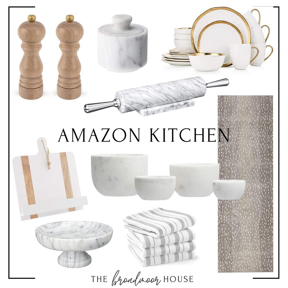 Salt & Pepper Mills  |  Salt Cellar  |  Plate Set  |  Rolling Pin  |  Recipe Book Holder  |  Marble Bowl Set  |  Marble Tray  |  Kitchen Towels  |  Antelope Kitchen Runner