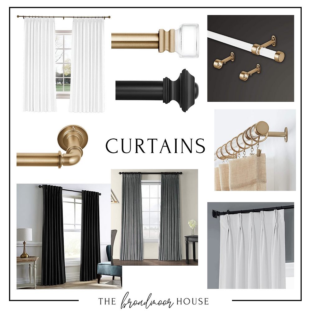 White Pleated Curtains  |  Brass Rod with Clean Finial  |  Acrylic Rod with Brass End Caps  |  Faux Brass Pipe Rod  |  Black Velvet Darkening Curtains  |  Gray Curtains