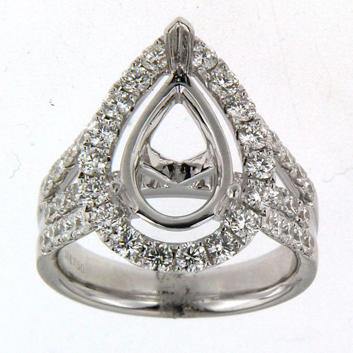 Pear Shape Halo-Bridge Setting