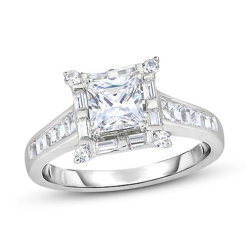 Princess Cut Solitaire Cluster Ring