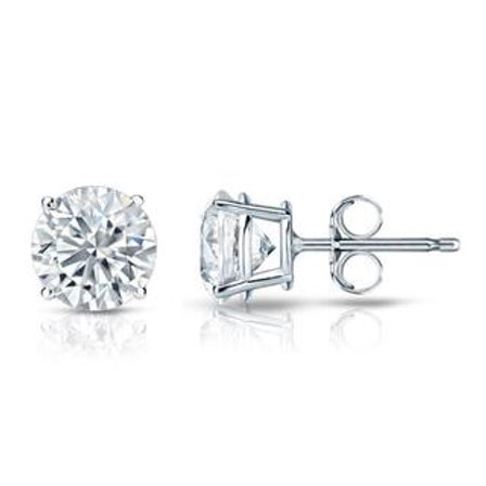 Round Brilliant Diamond Studs in 14K White Gold