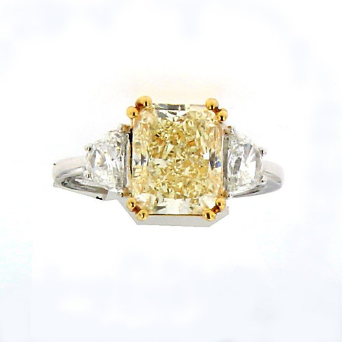 18K Cushion Cut Yellow Diamond Ring