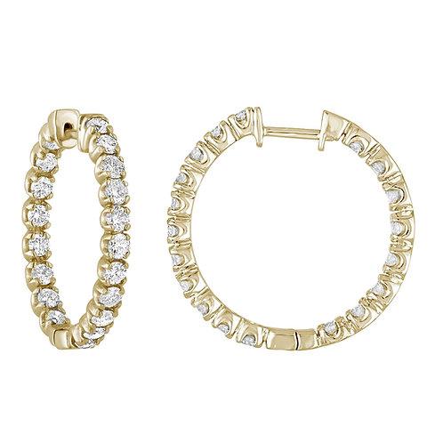 3 CTTW 14K YELLOW GOLD DIAMOND INSIDE OUT HOOP EARRINGS