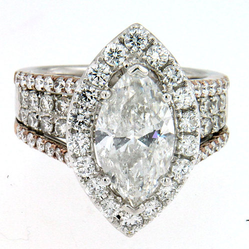 18K White & Rose Gold Marquise Cut Ring