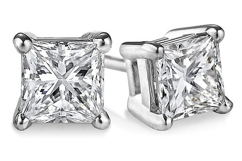 Princess Cut Diamond Studs in 14K White Gold