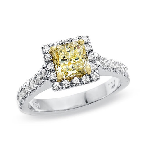 Canary Yellow Cushion Cut Ring