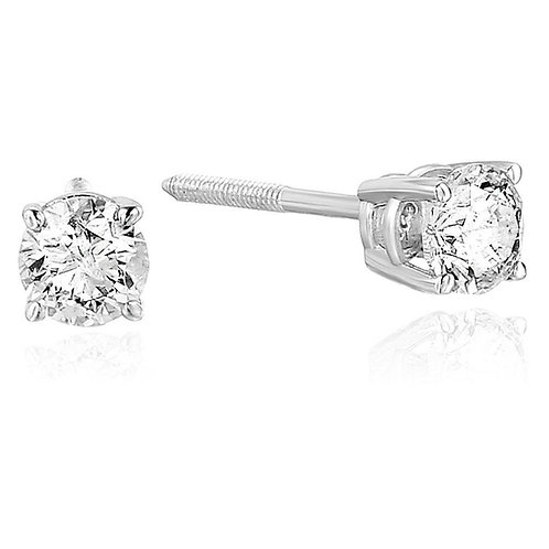 1.00CTTW DIAMOND 14K WHITE GOLD STUD EARRING
