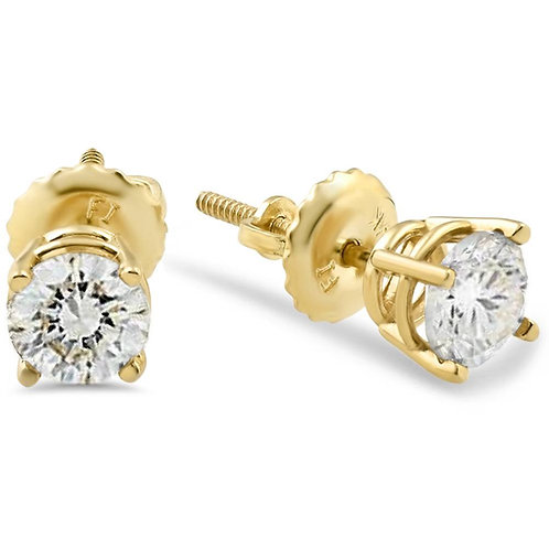 1.50CTTW DIAMOND 14K YELLOW GOLD STUD EARRING