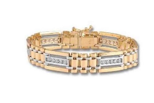 Men's Diamond Bracelet in 14K Yellow and White Gold