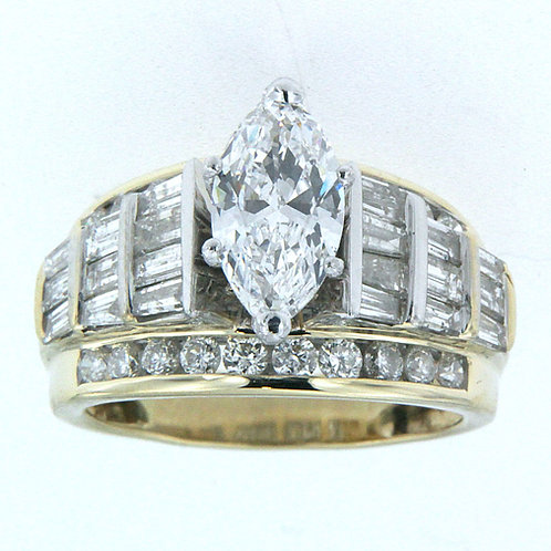 14K Marquise Yellow & White Gold Ring