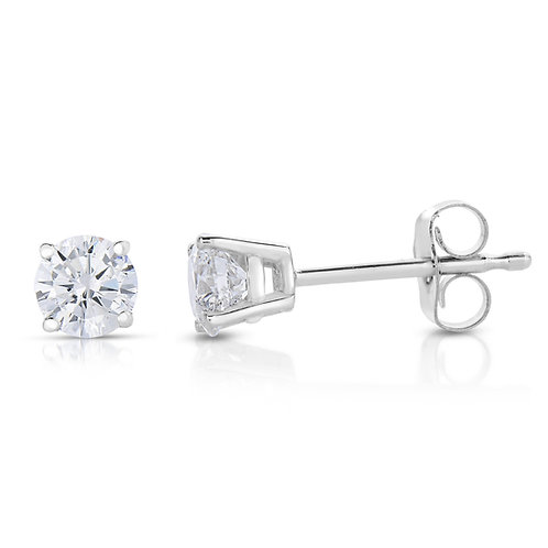 0.25CTTW DIAMOND 14K WHITE GOLD PUSH BACK EARRING
