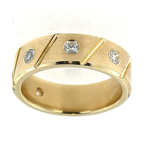 Men'd Brushed Diamond Band