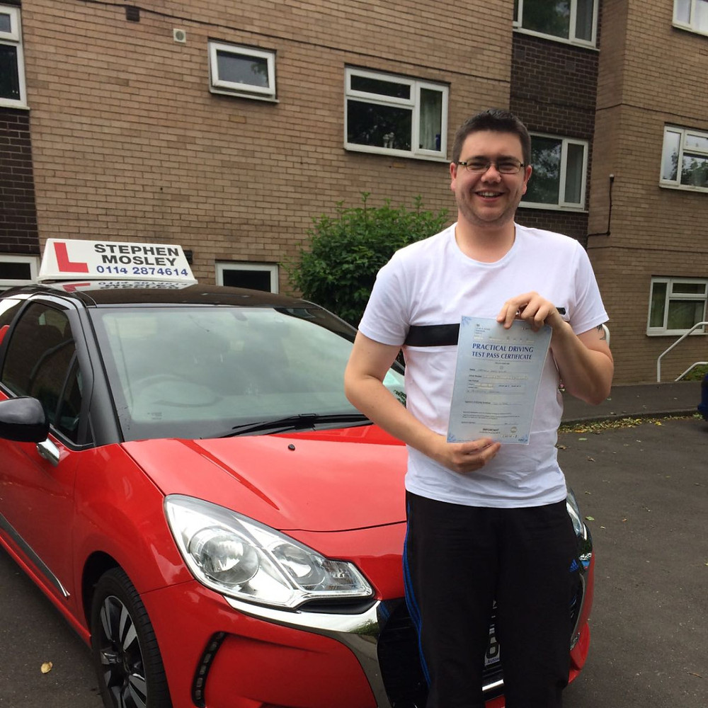 Well done to Matthew Dewey of Sheffield who passed his driving test first time today with just 5 driving faults.
