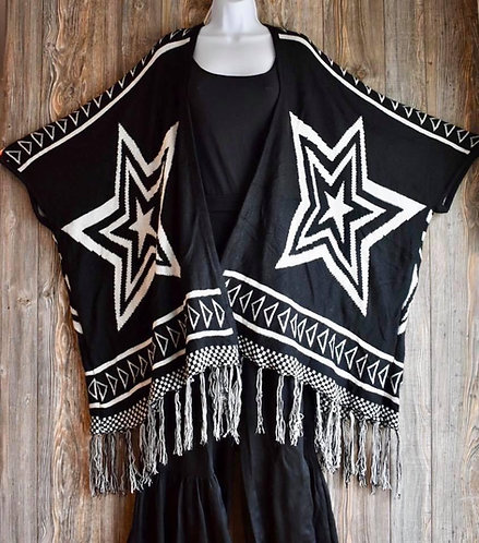 Star Flowy Cardigan Sweater Poncho!