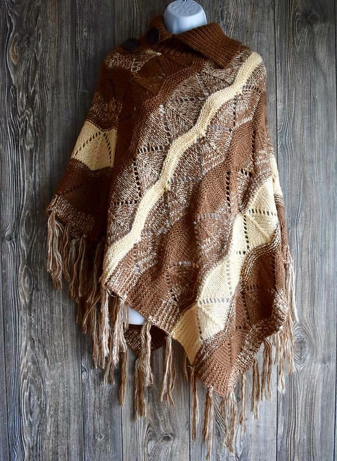 Soft Turtleneck Ponchos with Fringe!