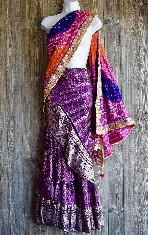 Silk Sateen Ruffle Skirt