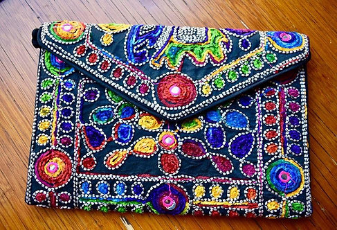 Embroidered Large Clutch Purse