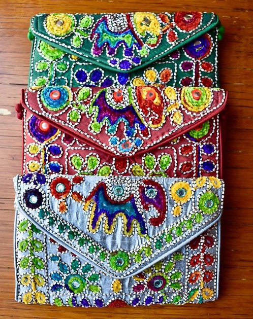 Embroidered Small Clutch Purse