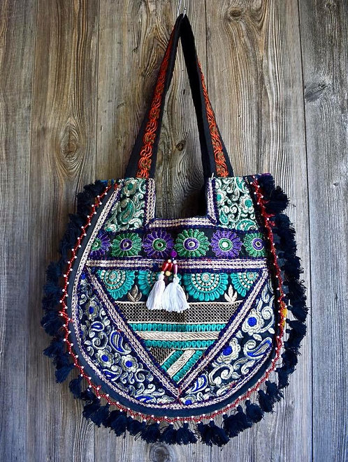 Wide Embroidered Tassel Purse