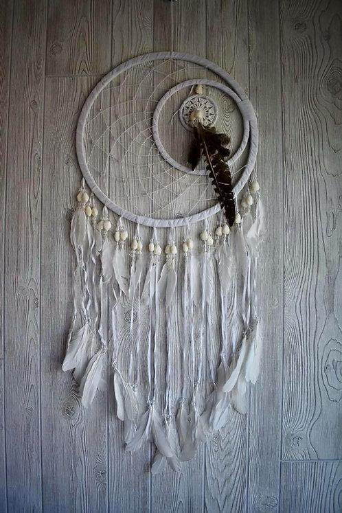 Beautiful White Beaded Feathered Dream Weaver