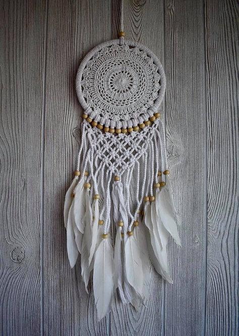 White Feather Macrame Dream Weaver