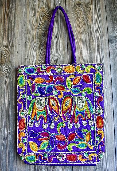 Embroidered Bag with zipper closure and strap handle