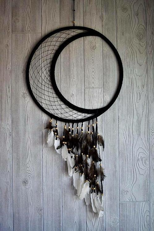 Black Featheted Crescent Moon Dream Weaver