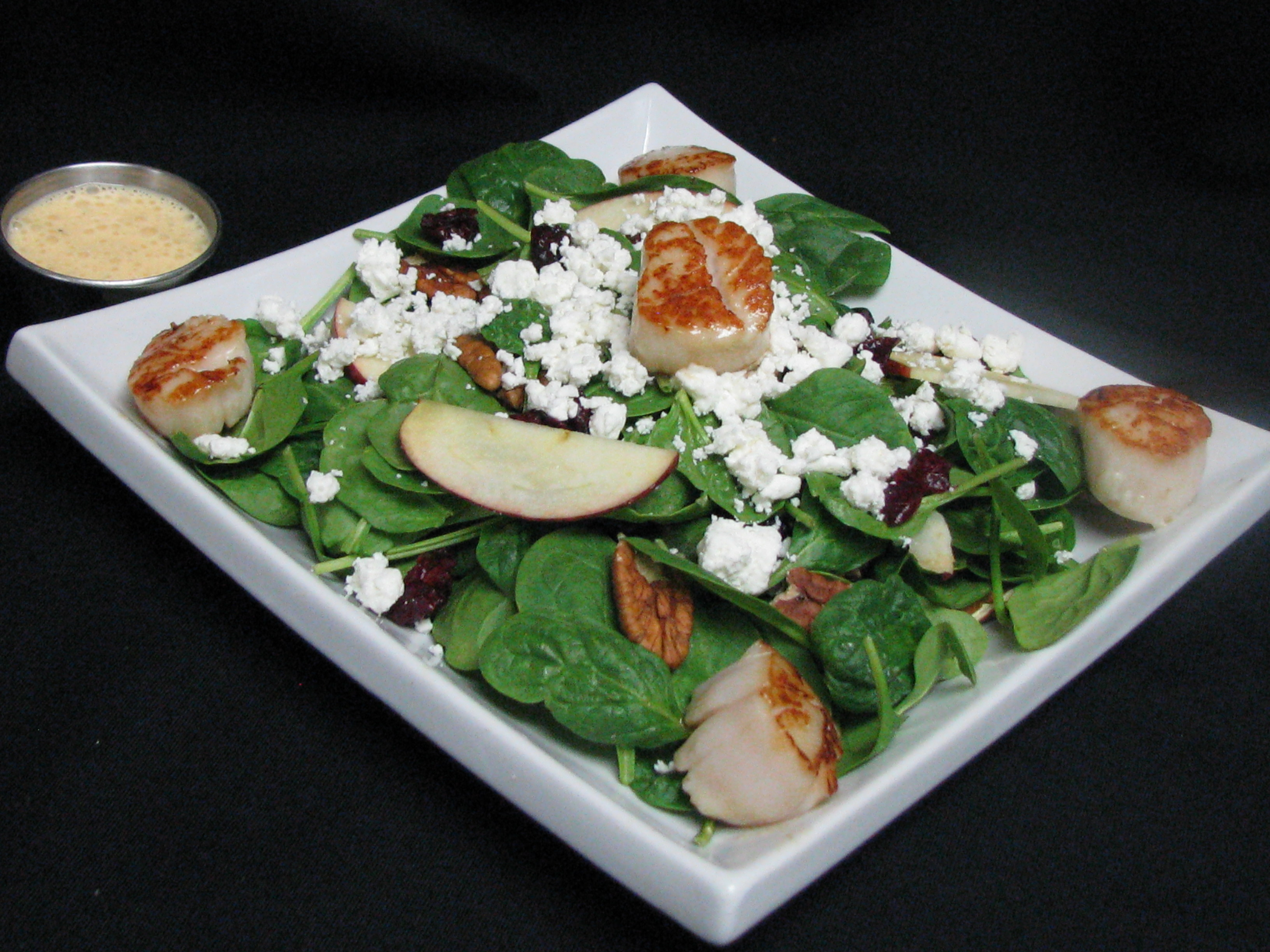 Cranberry apple salad with side scallops