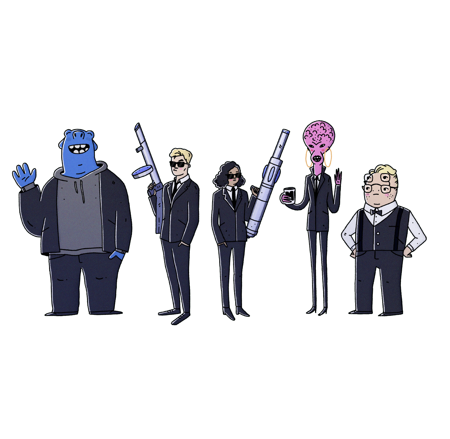 Character line-up - Men in black