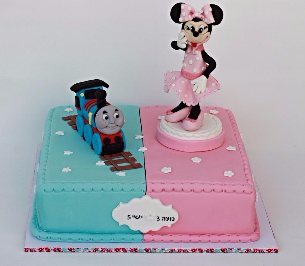עוגת מיני מאוס ורכבת
