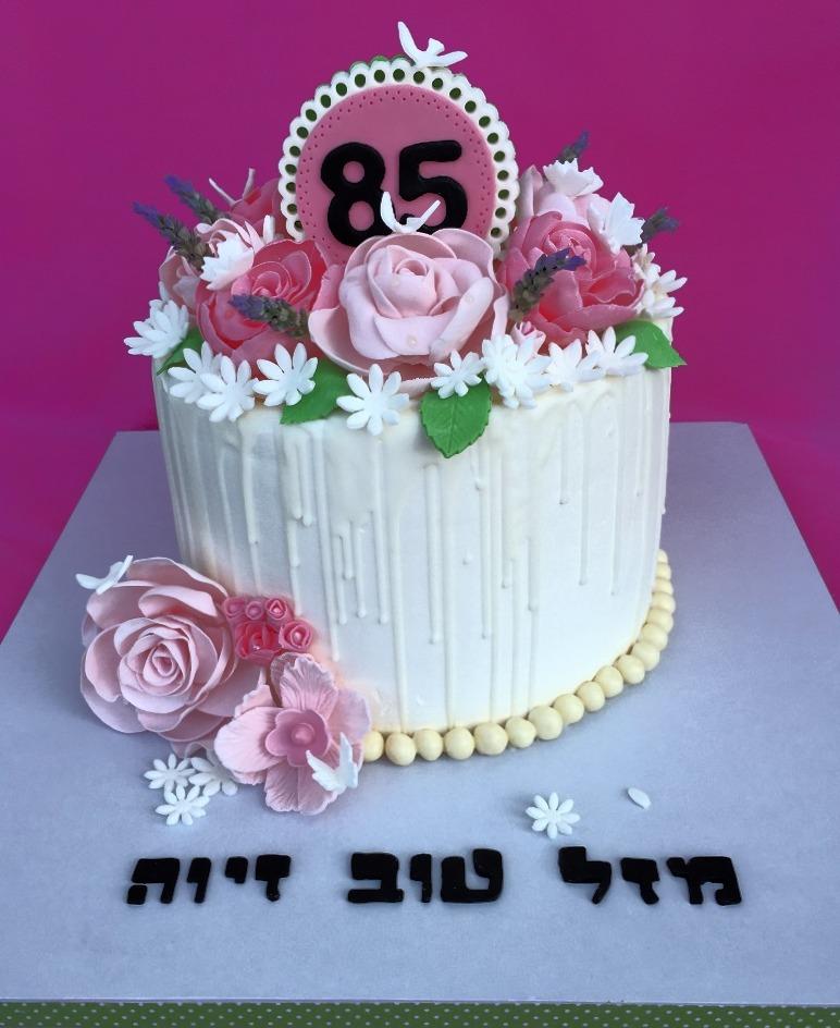 עוגה פירחונית