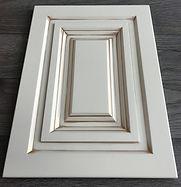 Kitchen Cabinet Refacing - custom design MDF glazed door , white with gold