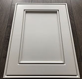 Kitchen Cabinet Refacing - grey MDF door with grooves - nice color