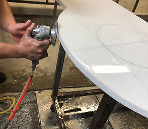 Custom Quartz Countertops - polishing kitchen counter top