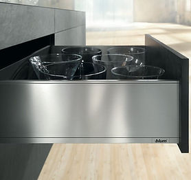 Custom kitchen cabinet accesories - metal drawer for a modern custom kitchen