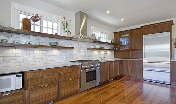 walnut  custom kitchen cabinets