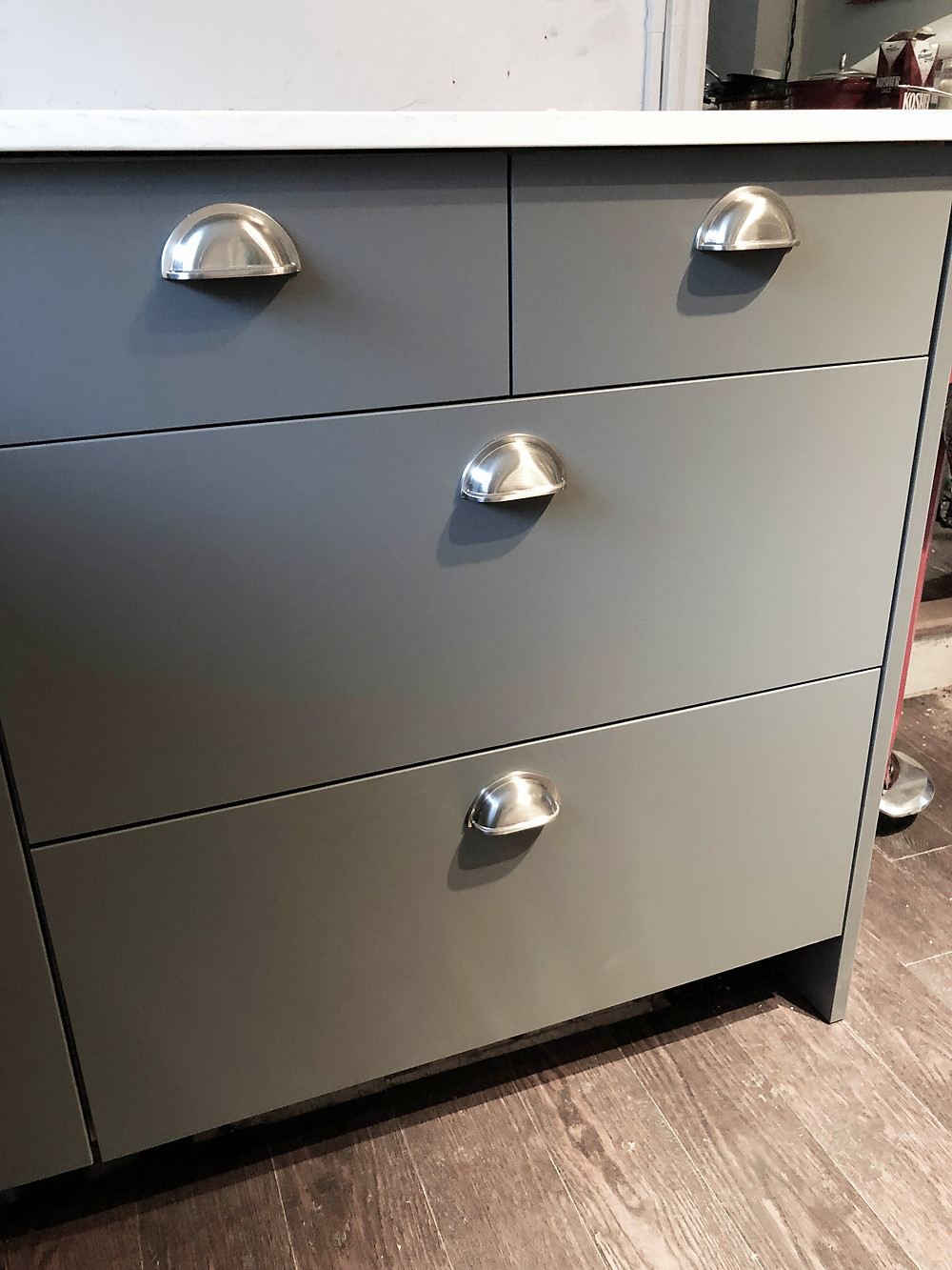 Matt kitchen cabinets in Toronto - new handles